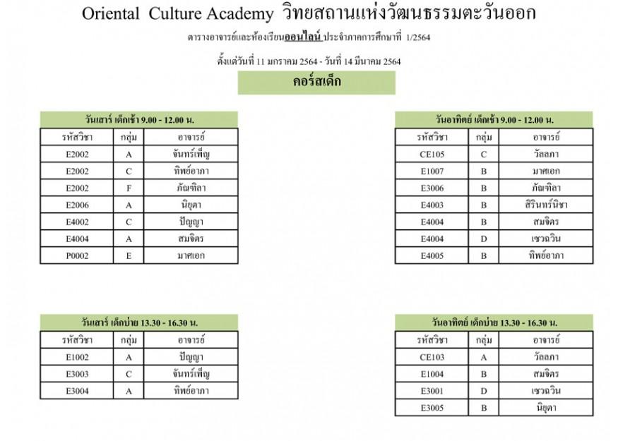ตารางอาจารย์และห้องเรียนออนไลน์ ประจำภาคการศึกษาที่ 1/2564 ( คอร์สเด็ก )